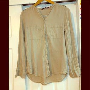 Zara Collection Tan Button Down Top Size Medium